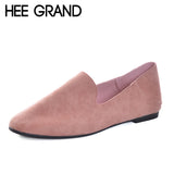 HEE GRAND Women Flats Soft Leather Flock Vamp Women Causal Shoes Slip-on Footwear for Ballet Flats lady'shoes XWD5986