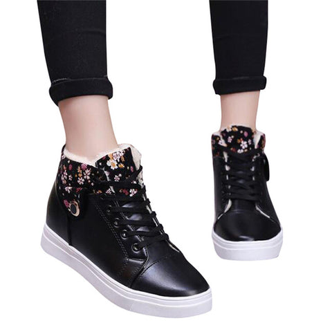 HEE GRAND Women Casual Shoes Winter Warm Shoes Women Lace-up Snow Boots PU Leather Flat with Women Shoes with Short Plush XWB126