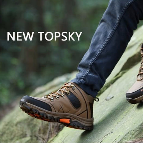 Outdoor Lace-up High-top Hiking Boots Sport Men's Shoes For Camping Climbing Mountain Non-slip Breathable Shoes Wholesale