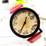2015 New Women Girls Fuax Leather Strap Round Dial Quartz Wrist Watch