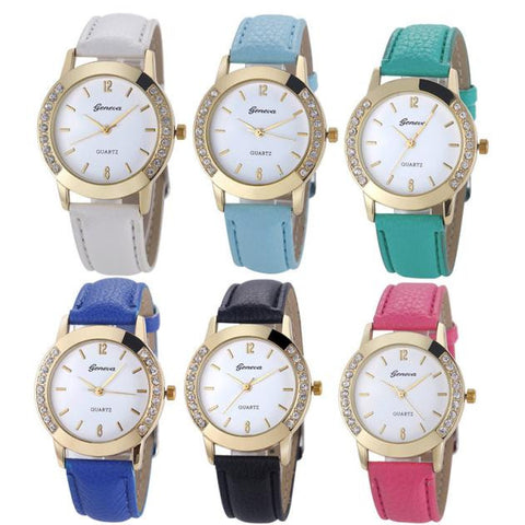 6 Pack Geneva Women Fashion Rhinstone Inlaid Analog Quartz Dress Wrist Watch