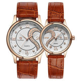 1 Pair Tiannbu Ultrathin Leather Romantic Fashionuple Wrist Watches