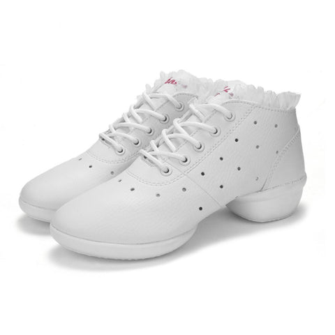Women Dancing Shoes Jazz Hip Hop Soft Cow Leather Shoes For Female Sneakers Salsa Ballroom Anti-slip Dance Shoes Female White