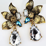 1 Pair Elegant Women Fashion Rhinestone Ear Stud Earrings Crystal Chain