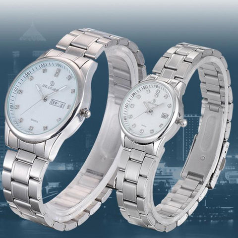 1Pair Luxury Couples Rhinestore Watch Stainless Steel Band Quartz Wrist Watch