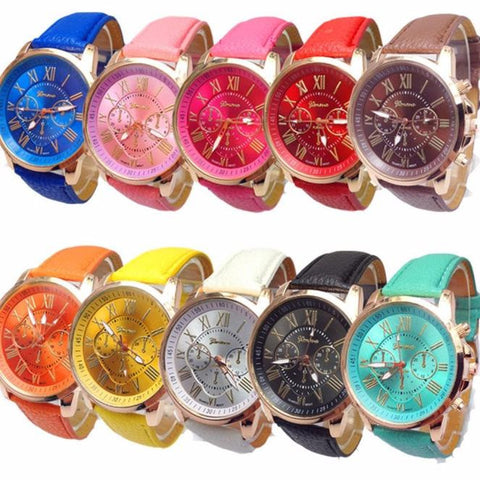 10pc Geneva Women'solesale Roman Numerals Faux Leather Analog Quartz Watch