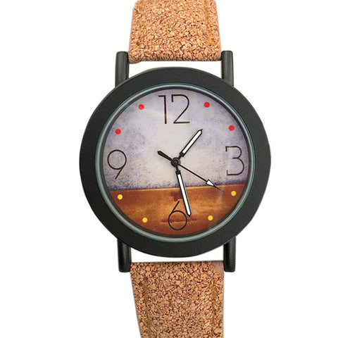 Antique Desert Pattern Leather Band Analog Quartz Vogue Watches