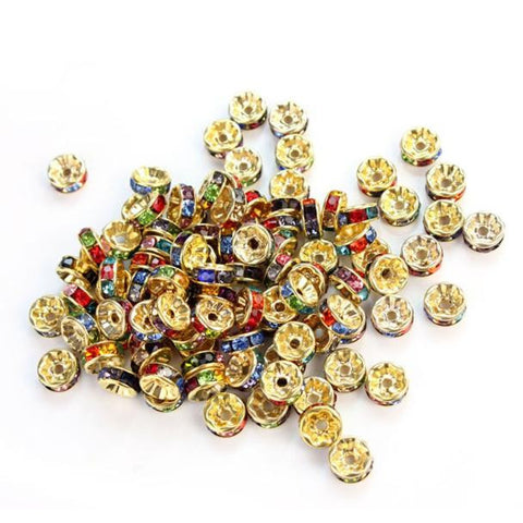 100 Pcs Rhinestone Crystal Spacer Bead 8mm Multicolor