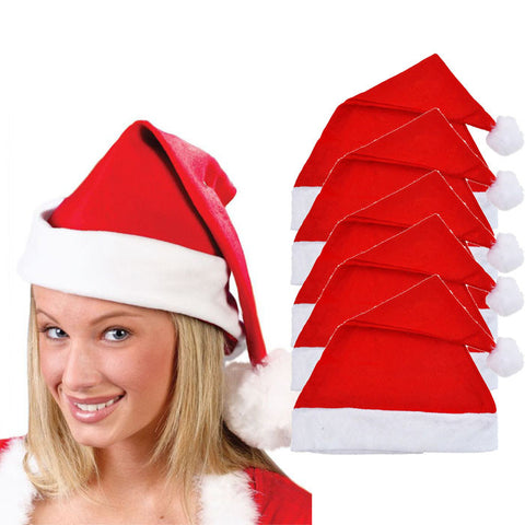 5x Adult Unisex Adult Xmas Red Cap Santa Novelty Hat for Christmas Party