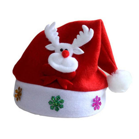 12pcs Christmas Wapiti Red Hat Set Cozy Soft Warm Childre Santa  Headgear