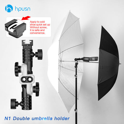 HPUSN N1 Universal Metal Cold Shoe Mount Flash Hot Shoe Adapter for Trigger Double Umbrella Holder Swivel Light Stand Bracket