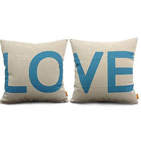 45*45CM LOVE Fashion Cotton Linter Sofa Seat Pillow Cases Cushion Covers
