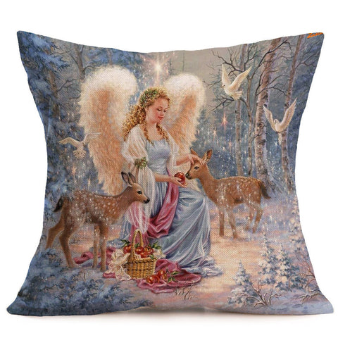 4PCS Merry Christmas Linen Pillow Cases Sofa Cushion Cover Home Decor 18x18 Inch