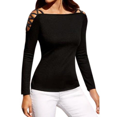 Women Solid Black Off Shoulder Sexy Blouses Long Sleeve Slim Tops Shirt