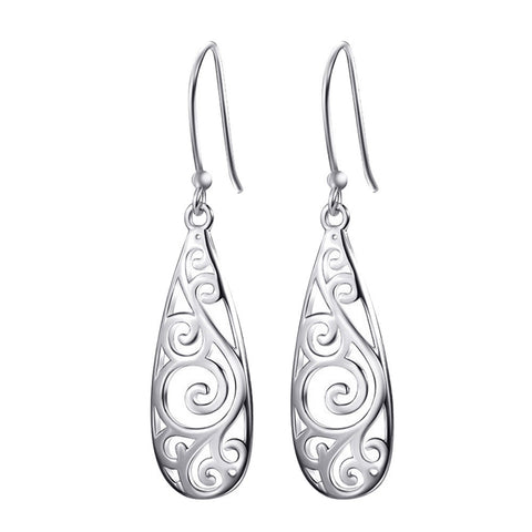 Women Simple Jewelry Bohemia Fashion Silver Hollow Carved Water Drop Earrings
