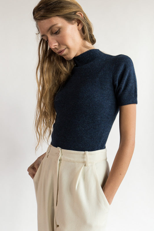 Mockneck Fitted Knit Tee in Indigo