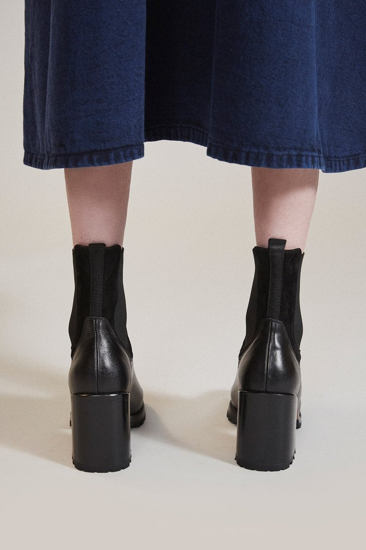 Rachel Comey-Stunt Boot-black leather boots-stacked heel boots-chelsea boots-Idun-St. Paul