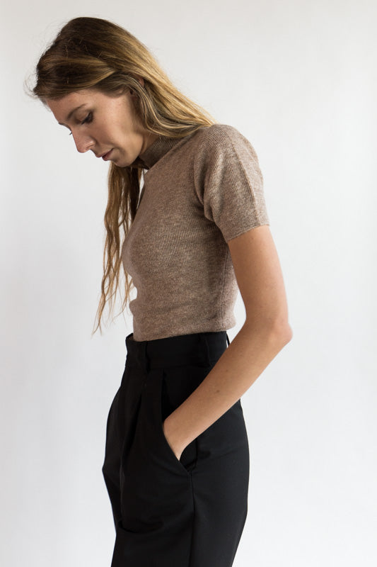 Mockneck Fitted Knit Tee in Faune