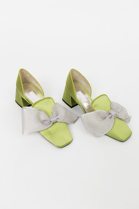 Suzanne Rae D'Orsay Satin Bow-Slip On Shoe-Green Heels