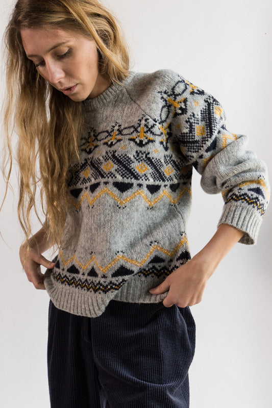 Asta Sweater in Grey Jacquard