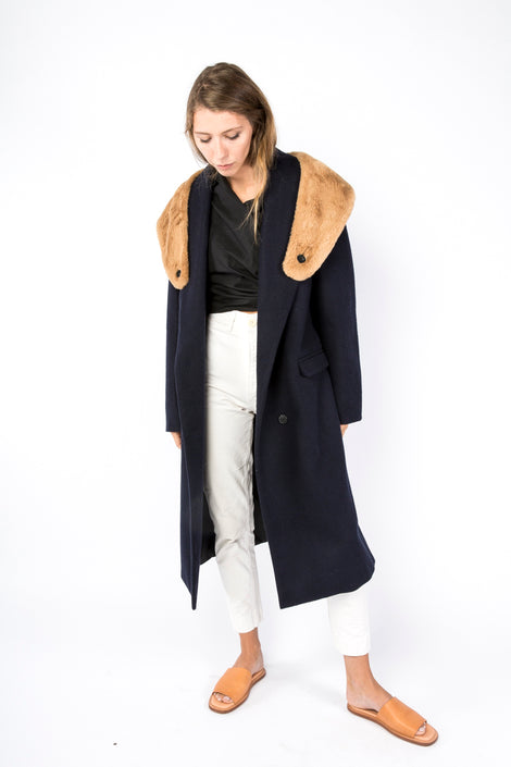 Idun-Saint Paul-Suzanne Rae Wool Coat-Navy Winter Coat-Fur Collar Coat