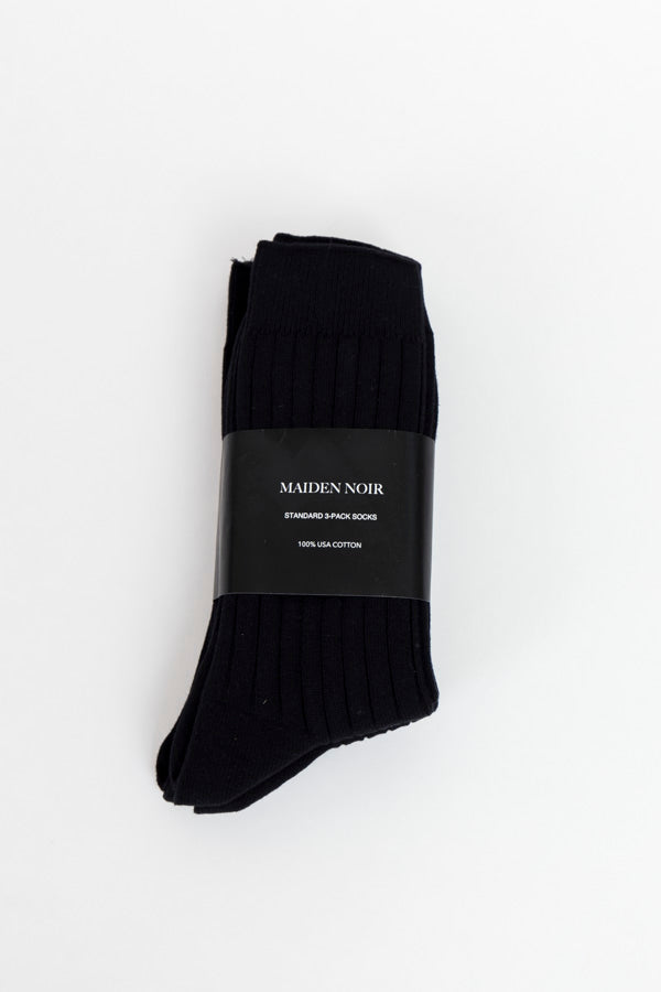 Maiden Noir Standard 3 Pack Socks-Black Socks