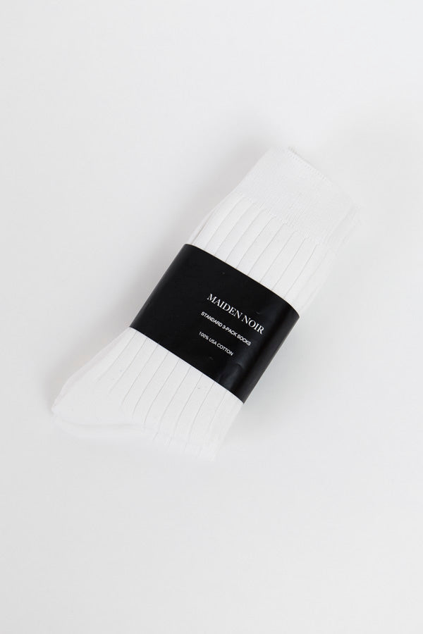 Maiden Noir Standard 3 Pack Socks-White Socks