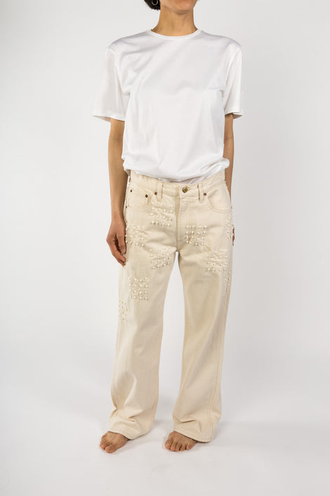 B Sides Jeans Plein High Straight-B Sides Jeans-White Jeans-Natural Denim