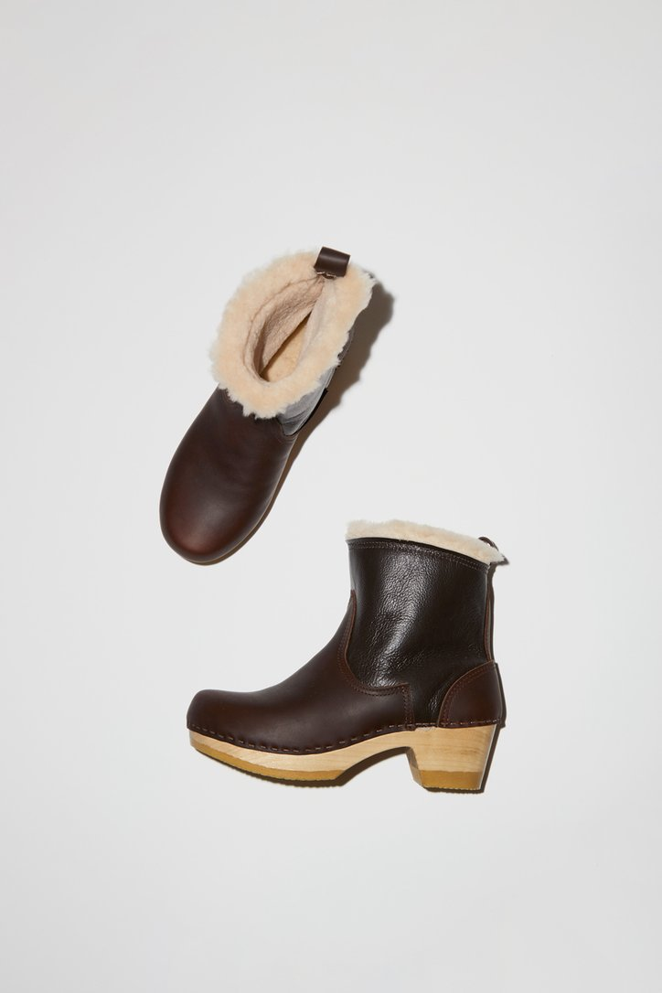No.6 Pull on Shearling Clog Boot on Mid Heel-No.6 shearling clog boot-No.6 clogs-No.6 Shearling Clog Boots in Brown-No.6 brown boots-No.6-Idun-St. Paul