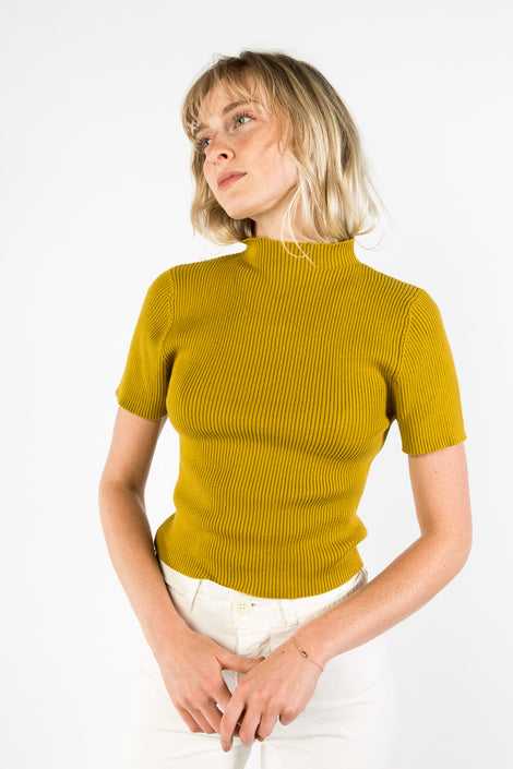 7115 by Szeki Mockneck Fitted Rib Tee-Idun-Saint Paul-Yellow Top-Knit Top