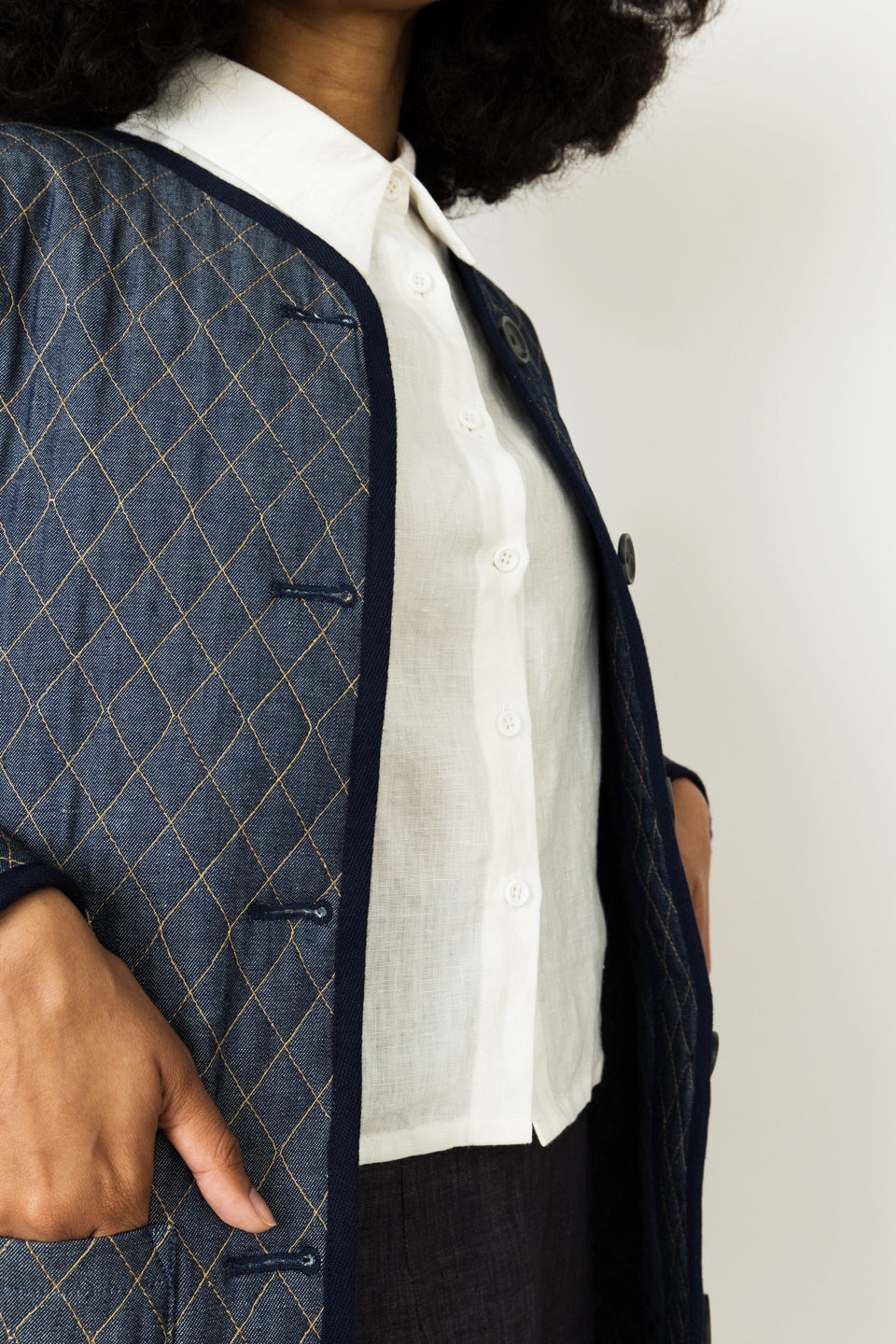 Emerson Fry Quilted Topper-Blue Jacket-Quilted Jacket