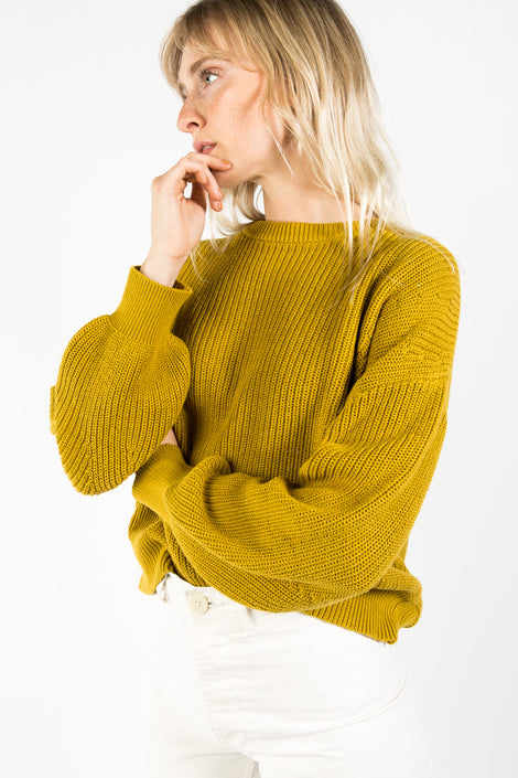 7115 by Szeki Poet Sleeves Sweater-idun-saint paul-yellow sweater-cotton knit