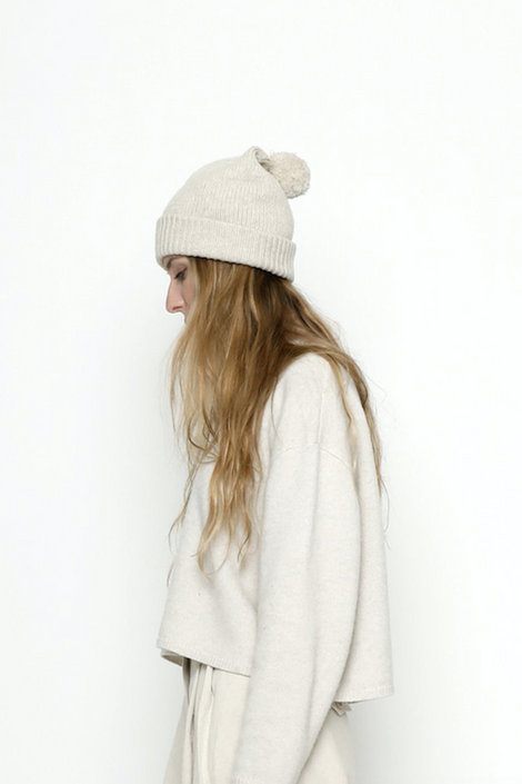7115 by Szeki-7115 by Szeki Pom pom hat-cream pom pom hat-cream winter hat-Idun-St. Paul