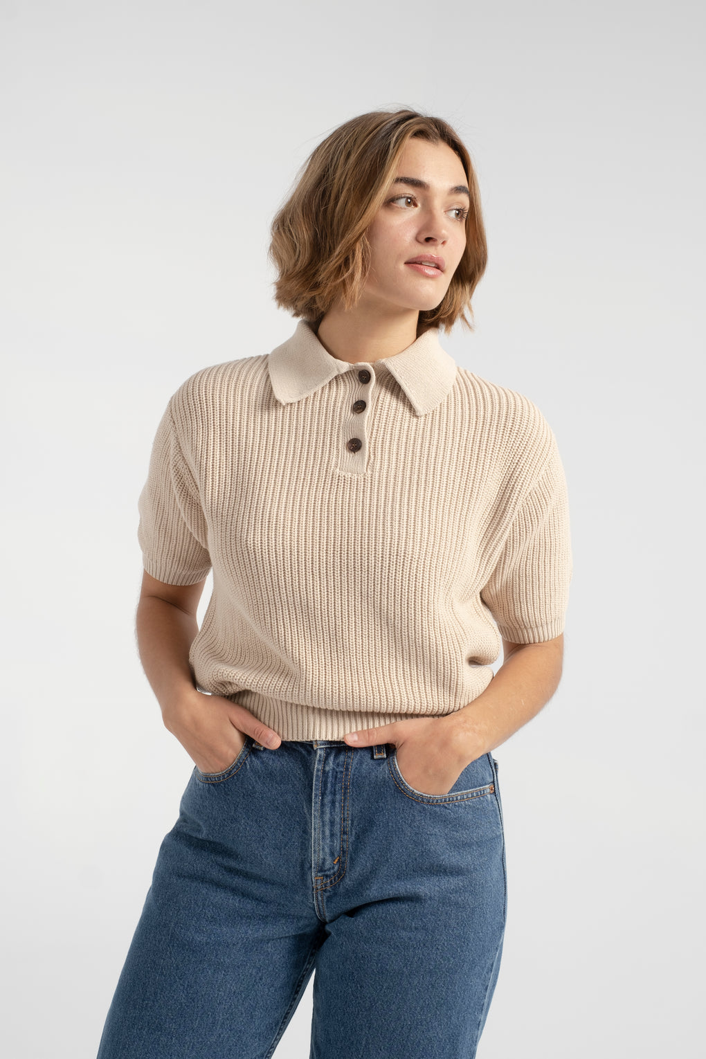 7115 by Szeki-7115 by Szeki collared pullover-7115 by Szeki tan sweater-7115 by Szeki sweater-short sleeve sweater-ribbed sweater-fall sweater-Idun-St. Paul