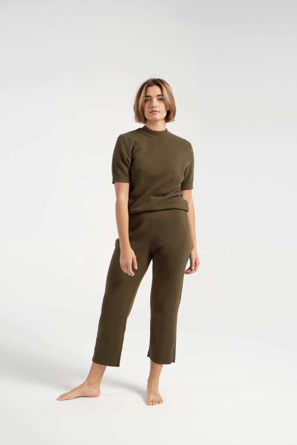 7115 by Szeki-7115 by Szeki Pull Up Knit Trouser-7115 by Szeki trousers-green pants-green knit pants-Idun-St. Paul