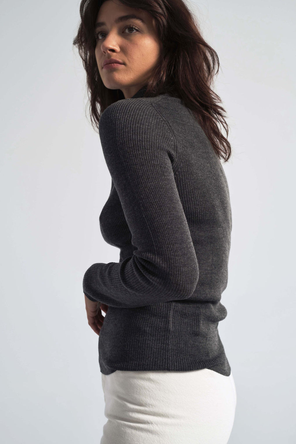 Siri Roll Merino Sweater in Dark Grey Melange