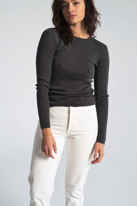 Siri Merino Sweater in Dark Grey Melange