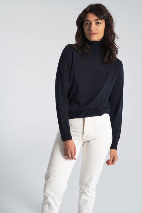 Anja Merino Sweater in Dark Navy