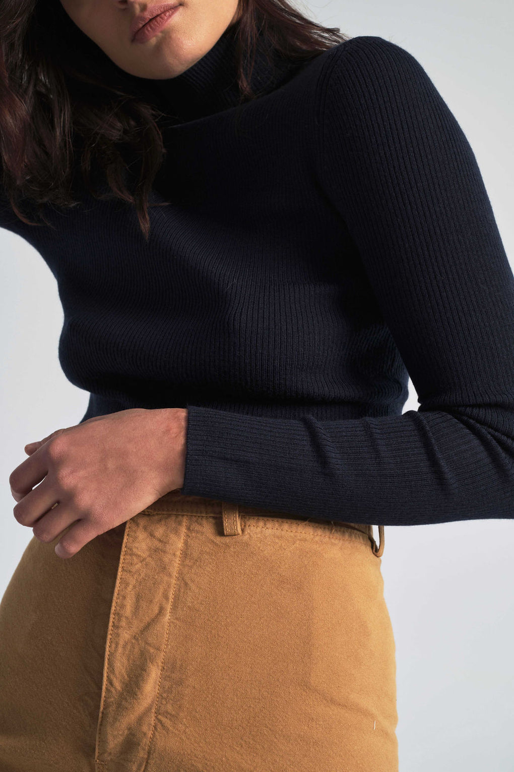 Siri Roll Merino Sweater in Dark Navy
