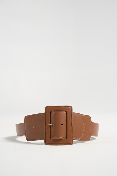 Maryam Nassir Zadeh-Maryam Nassir Zadeh win belt-oversized belt-leather belt-camel belt-Idun-St. Paul
