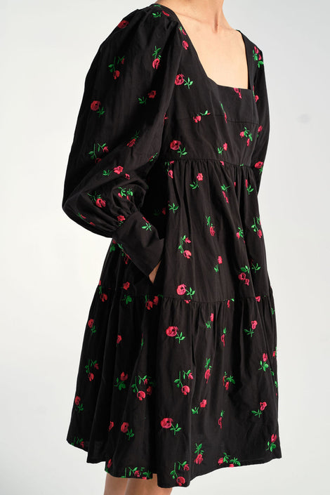 Rachel Antonoff - Christa Empire Dress in Black Rose - Idun - St. Paul