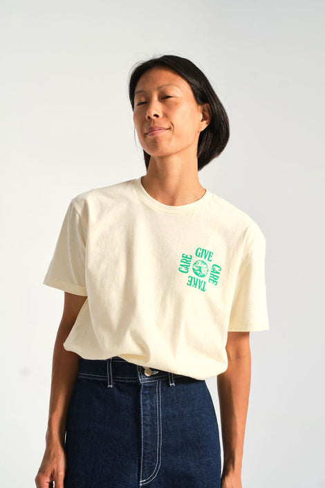 Give Care Take Care Tee-white t-shirt - Idun - Forage Modern Workshop - Golden Age - Golden Rule - Hazel & Rose