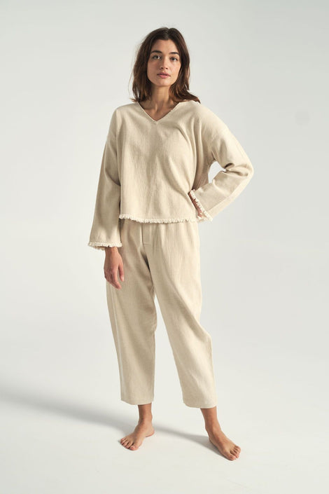 7115 by Szeki-oatmeal trousers-elastic trousers-Idun-St. Paul