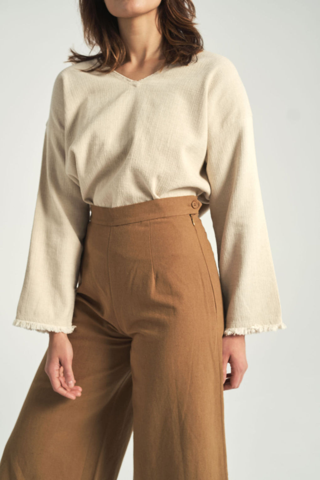 Wide-Legged Trouser in Caramel