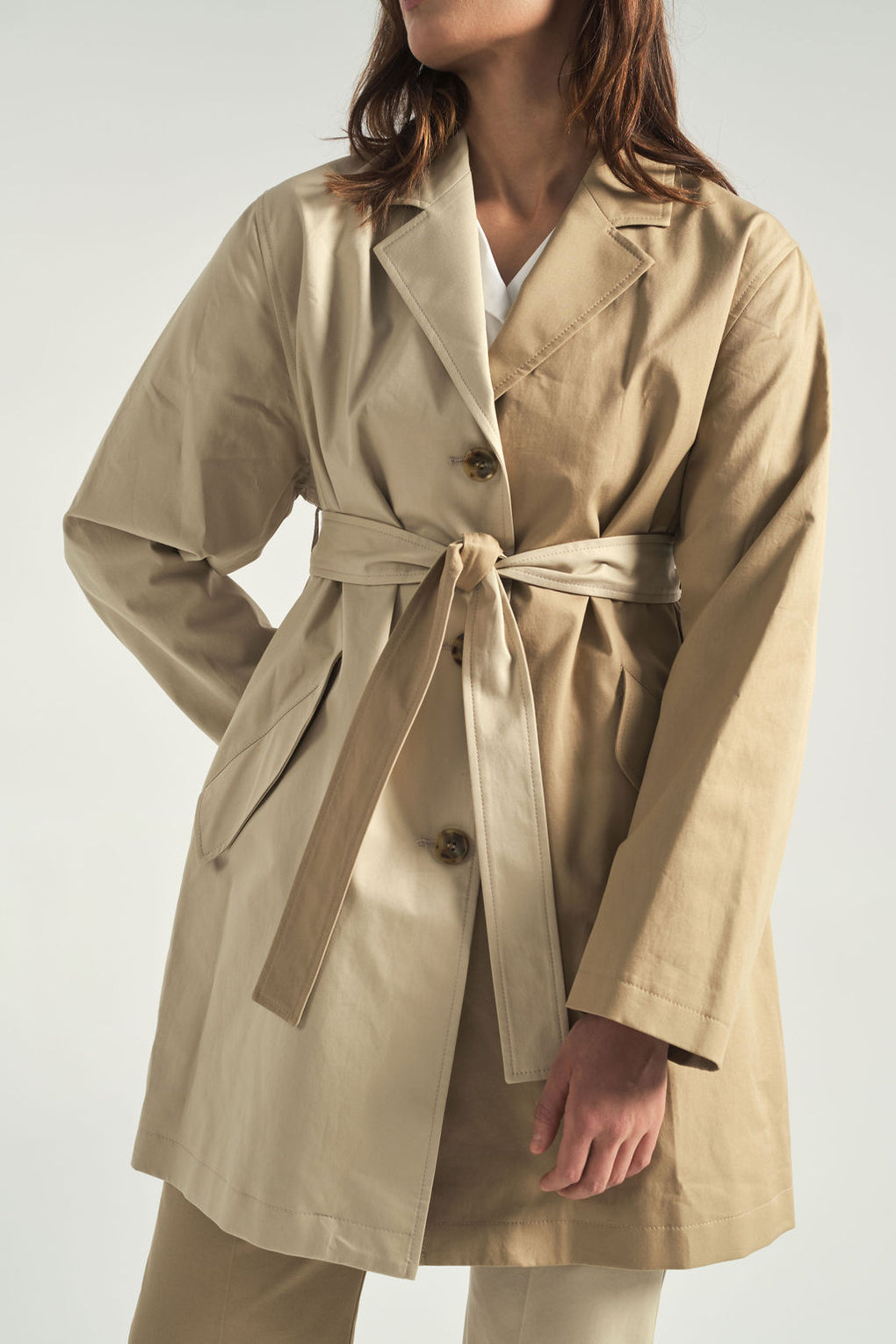 Two tone trench-MM6 by Maison Margiela-spring trench coat-Idun-St.Paul-two tone trousers