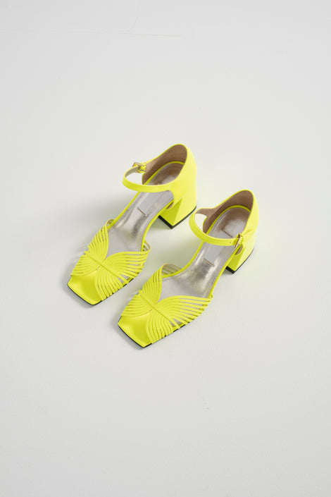 Suzanne Rae-70s strappy high heel sandal-neon yellow shoes-Idun-St. Paul