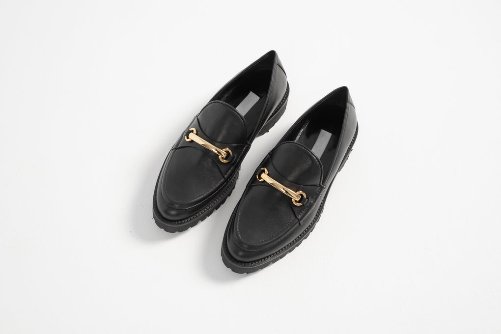 Suzanne Rae-Suzanne Rae shoes-Suzanne Rae Lugg Sole Loafer-black leather loafer-black and gold loafer-black loafer-Idun-St. Paul