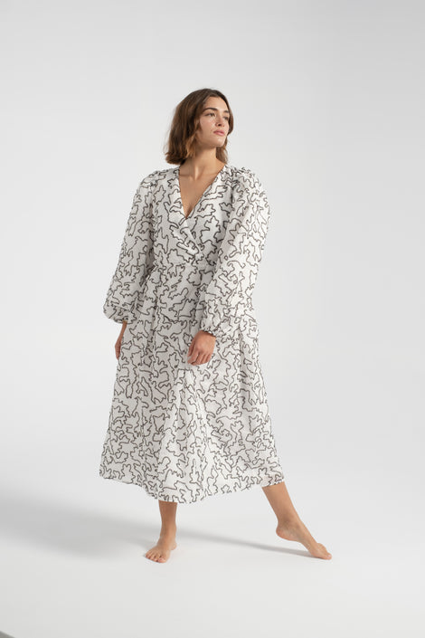 Stine Goya-Bernard dress-white dress-white Stine Goya dress-black and white dress-long sleeve dress-fall dress-Idun-St. Paul