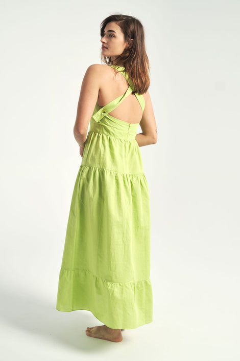Rachel Antonoff-Hannah Dress-Idun-St. Paul-lime green dress-summer dress-open back dress