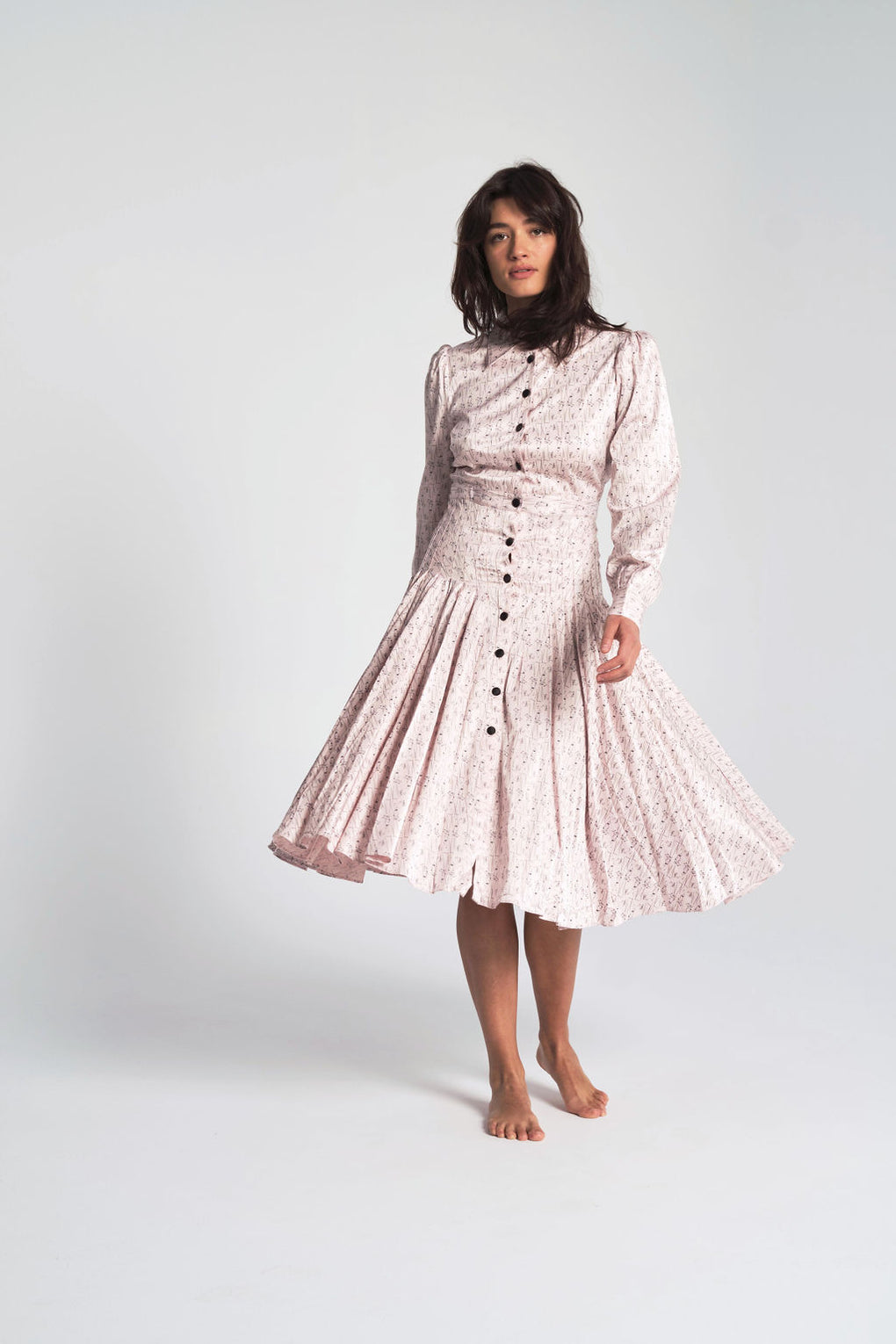 Rachel Antonoff-Fanny Pleated Shirt Dress-silk dress-Idun-St. Paul